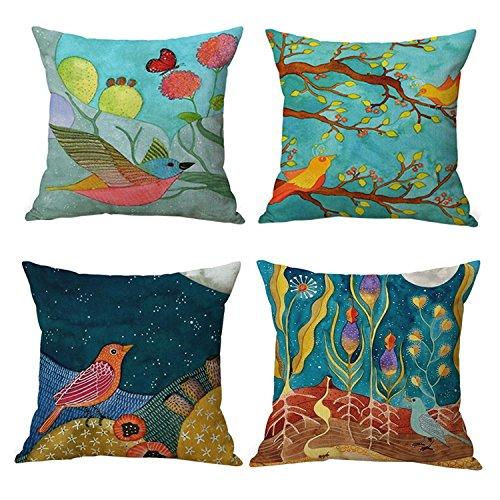 - JES&MEDIS Spring Cartoon Bird Pattern Linen Cotton Throw Pillow Case Home Decorative Pillowcase Cushion Cover for Sofa Bed,18