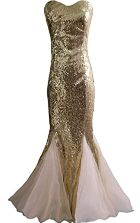 BIXIZHIRAN Womens Trumpet Fitted Mermaid Tulle Sequin Long Prom Dresses Golden US 2