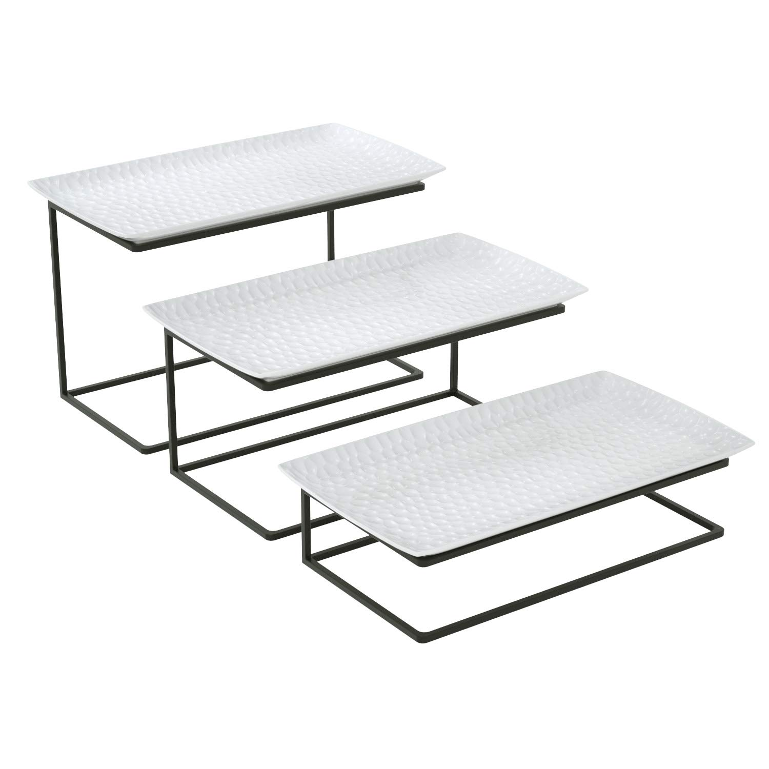 Love-KANKEI Three Tier Serving Tray - Free Combination Tiered Serving Stand for Party with 3 White Rectangular Platters to Display Food