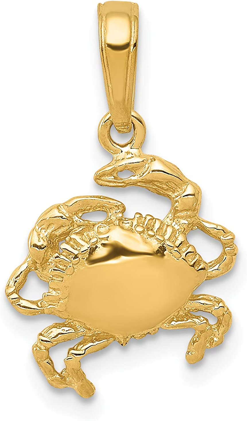 14k Yellow Gold Solid Polished Open-Back Crab Pendant 29x11mm