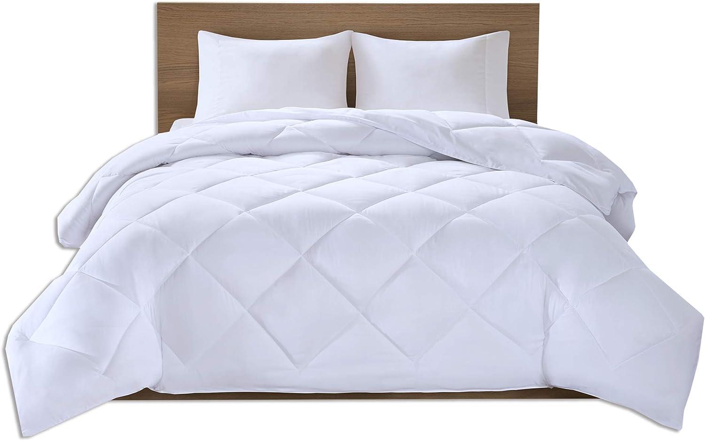 Comfort Spaces Plush Cooling Fiber Filled Down Alernative Comforter-Duvet Insert-Full/Queen, Box Stitches-Moisture Wicking, Temperature Regulating, Hypoallergenic-All Season, White-Micax