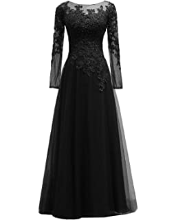 76f8f83cd42 Pretygirl Women s Appliques Tulle Mother of The Bride Dress Long Sleeves Evening  Formal Gown