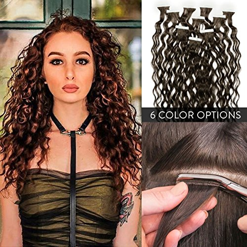 (100% Remy Premium Curly Tape In Human Hair Extensions 14