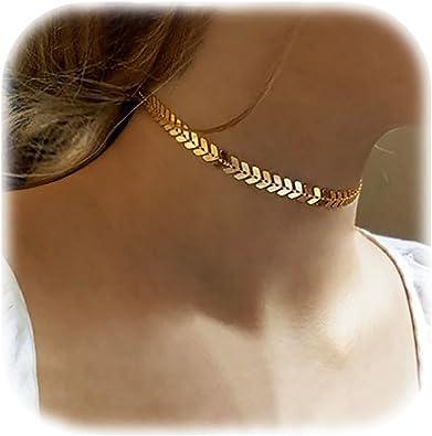2Pcs//Set Sequins Necklace Simple Fish Bone Double Layers Boho Choker Jewelry New