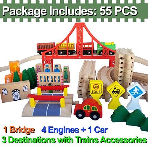 FLASH SALE   Wooden Train Tracks – Deluxe 55 Pcs Set With 3 Destination Fits Thomas, Brio, Ikea, Chuggington, Imaginarium, Melissa and Doug + Free Gift Box