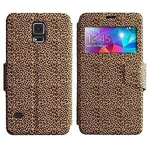 LEOCASE estampado de leopardo Funda Carcasa Cuero Tapa Case Para Samsung Galaxy S5 I9600 No.1006233