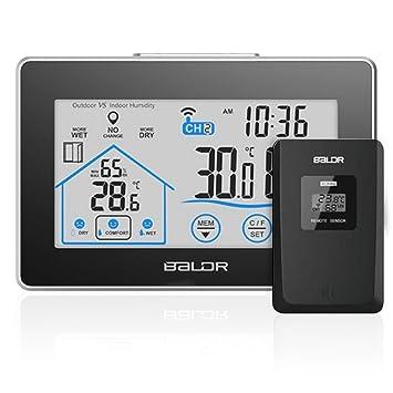 Estación meteorológica inalámbrica, humedad de la temperatura interior al aire libre con pantalla grande LCD