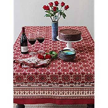 Ruby Kilim ~ Rustic Red Holiday Decorative Table Cloths 70x90