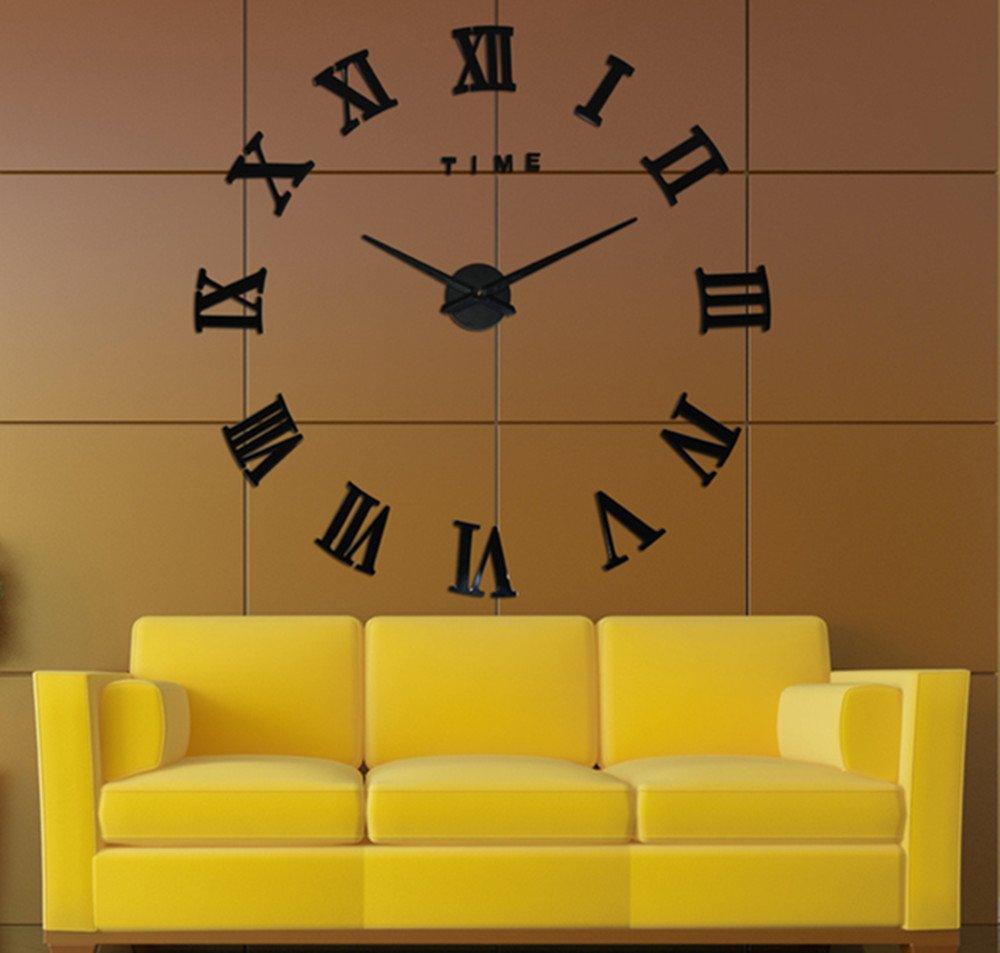 Amazon.com: S\'beauty Roman Numbers DIY 3D Big Size Wall Clock Black ...
