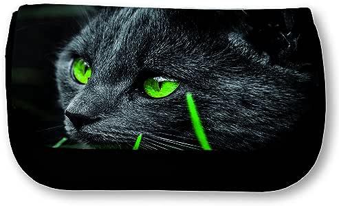 FS – Estuche escolar, dibujo de gato negro con ojos verdes: Amazon.es: Oficina y papelería