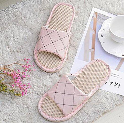 45 Simple Chaussons Treillis Ménage Pantoufle 60 Hommes Intérieur Femmes Antidérapant Pink Gray en Décoration SHANGXIAN Couple OPTwqn