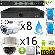 USG Sony DSP 24 Camera 1080P PoE IP CCTV Kit With Audio: 16x 1080P IP PoE 5-50mm Dome Cameras + 8x 1080P IP PoE 5-50mm Bullet Cameras + 1x 24 Channel 1080P NVR + 1x 28 Port PoE Switch + 2x 4TB HDD
