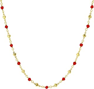 product image for 1928 Jewelry Gold-Tone Hearts and Red Beads Chain Necklace