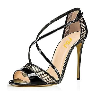 c4e4f9656d FSJ Women Graceful Open Toe Mesh Sandals High Heels Stilettos Strappy Shoes  Size 4 Black