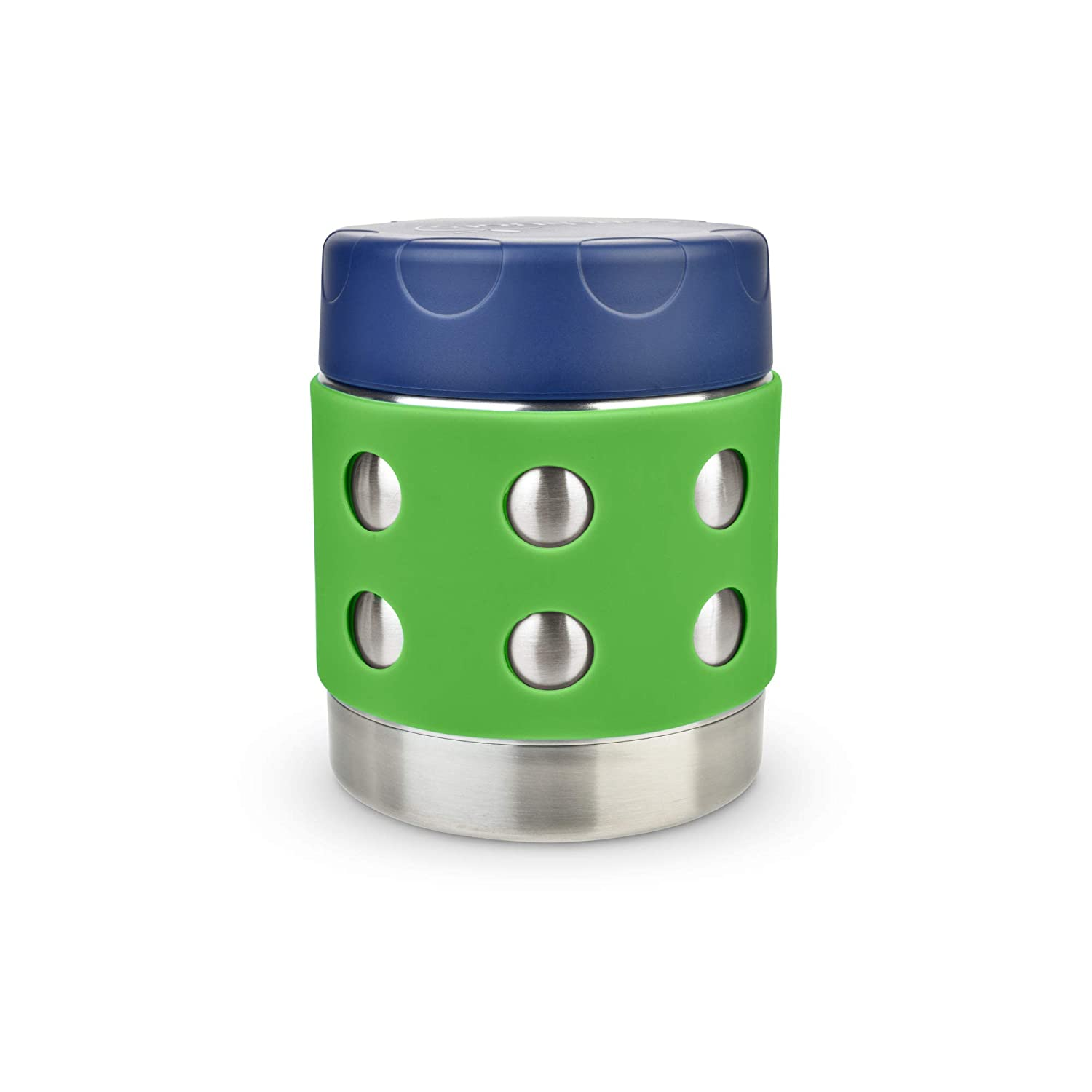 LunchBots Thermal 8 oz Triple Insulated Food Container - Hot 6 Hours or Cold 12 Hours - Leak Proof Thermos Soup Jar - All Stainless Interior - Navy Lid - Green Dots
