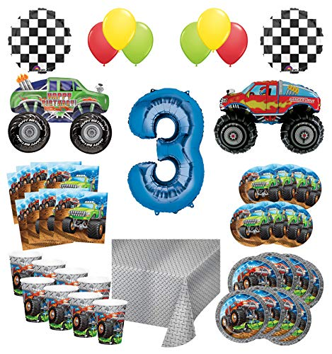 Mayflower Products Monster Truck Rally 3rd Birthday Party Supplies 8 Guest Decoration Kit with Green and Red Monster Truck Balloon Bouquet -