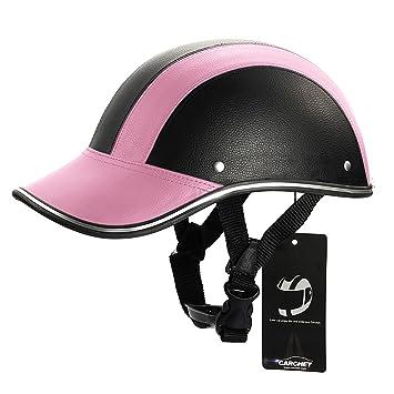 CARCHET Cascos Béisbol Protector Seguridad para Moto Motocicleta Color Rosa Negro