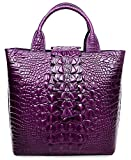 Pijushi Embossed Crocodile Leather Tote Top Handle Handbags 6061 (One Size, Violet)