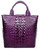 PIJUSHI Top Handle Satchel Handbags Crocodile Bag Designer Purse Leather Tote Bags (6061 Violet)