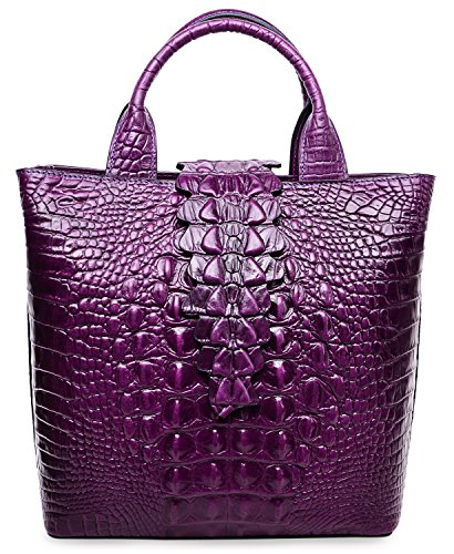 Pijushi Embossed Crocodile Leather Tote Top Handle Handbags 6061 (One Size, Violet) by PIJUSHI