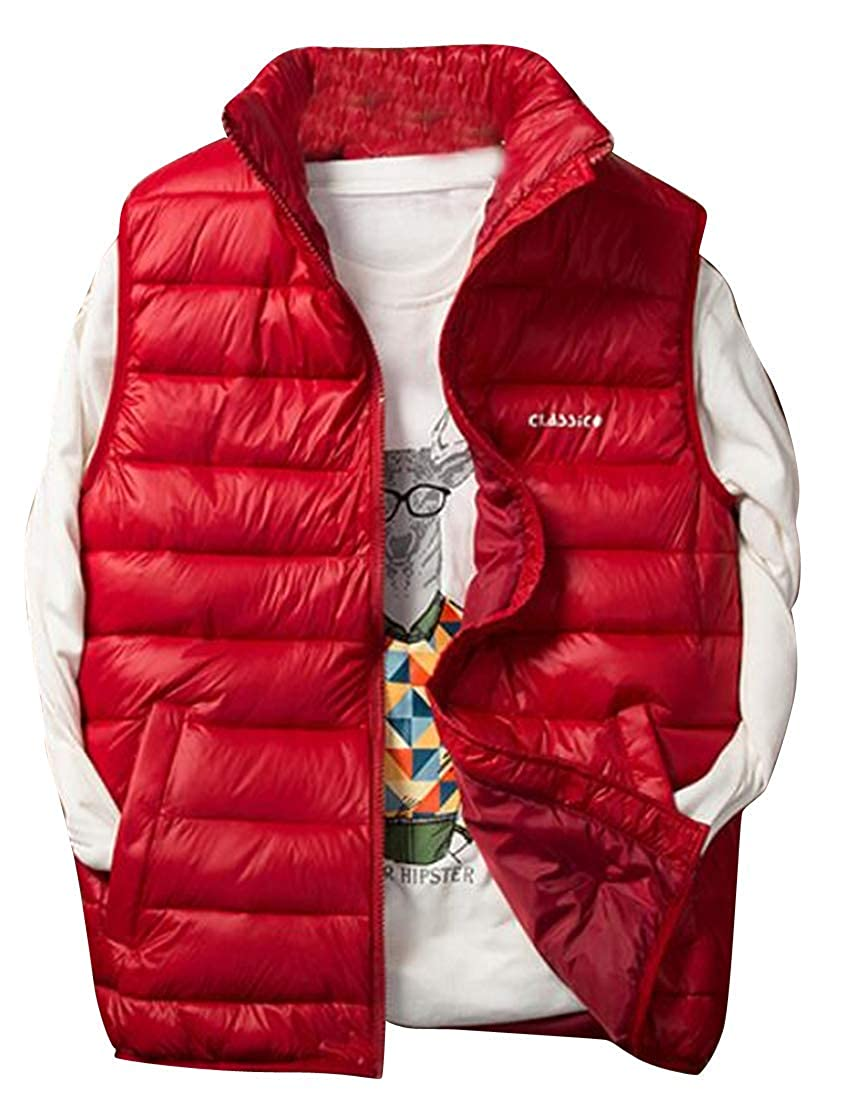 MK988 Mens Zip Front Plus Size Stand Collar Lightweight Sleeveless Thermal Down Quilted Vest Puffer Jacket Outerwear