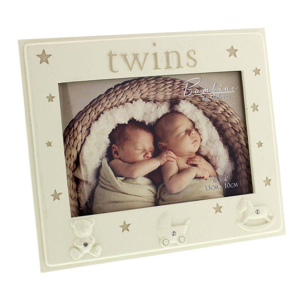Twins beautiful Bambino cream resin 5 x 3.5 photo frame with stars by Bambino