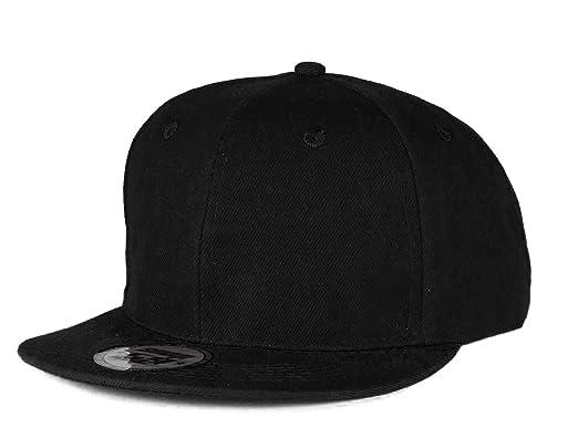 b81836cb153 Mens Womens Black Casual Snap Back Cap Snapback hat flat hats caps  adjustable strap (Plain black)  Amazon.co.uk  Clothing