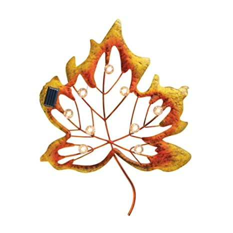Amazon.com : Collections Etc Solar Metal Autumn Leaf Hanging Wall ...