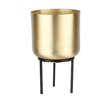 Amazon.com: NCYP - Maceta redonda de metal dorado con ...