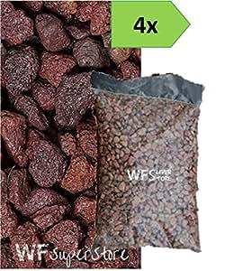 Lava granulada roja 10/18–4Bolsas de 33litros–Para las malas hierbas del jardín