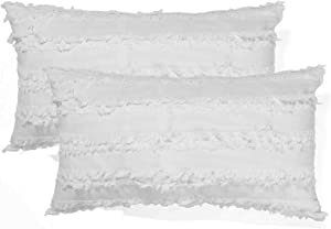Cozy Lumbar Oblong Rectangle Throw Pillow Cover, Modern Fringe Cushion Covers for Couch Bed Sofa, Farmhouse Home Decor Neutral Pillow Cases, 12 x 20 Inches, Pack of 2, Ivory White