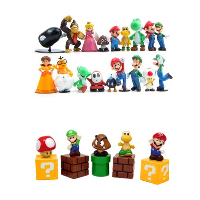 1.8-2.6 inch JoySee 28 Pcs//Set PVC Super Mario Bros Super Mary Princess Turtle Super Mary Action Figures for Kids /& Adults Mushroom Orangutan