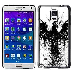 TopCaseStore / la caja del caucho duro de la cubierta de protección de la piel - Crow Raven Black Bird Wings Graffiti Stencil - Samsung Galaxy Note 4 SM-N910