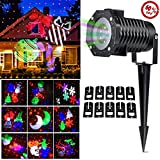 CM-Light LED Laser Projector Light,Holiday Christmas Outdoor Snowflakes Lamp Decoration,10 Slides LED Moving Landscape Spotlight,Party Festival Home Decor Garden Tree