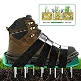 SHZONS Spiked Shoes, Lawn Aerator Soil Sandals with 8 Adjustable Straps and Zinc Alloy Buckles for Aerating Your Lawn or Yard,11.81×5.12''