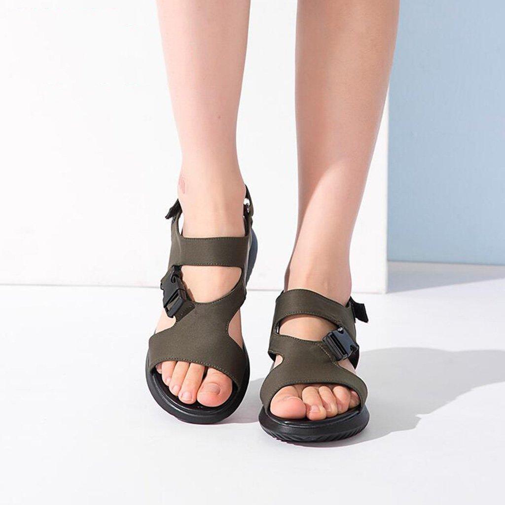 Jingsen Sommer-Casual Mit Flachen Klett-Sandalen Mit Offenen Zehen Zehen Zehen (Farbe   Olive Grün, größe   39) 4e602e