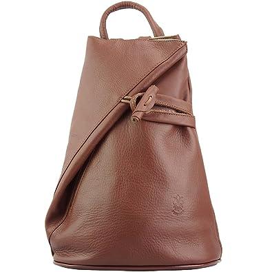 2ce26c8a8457d Rucksack-Tasche und Schultertasche Fiorella mit vielen Taschen aus echtem  Leder aus Italien (Braun