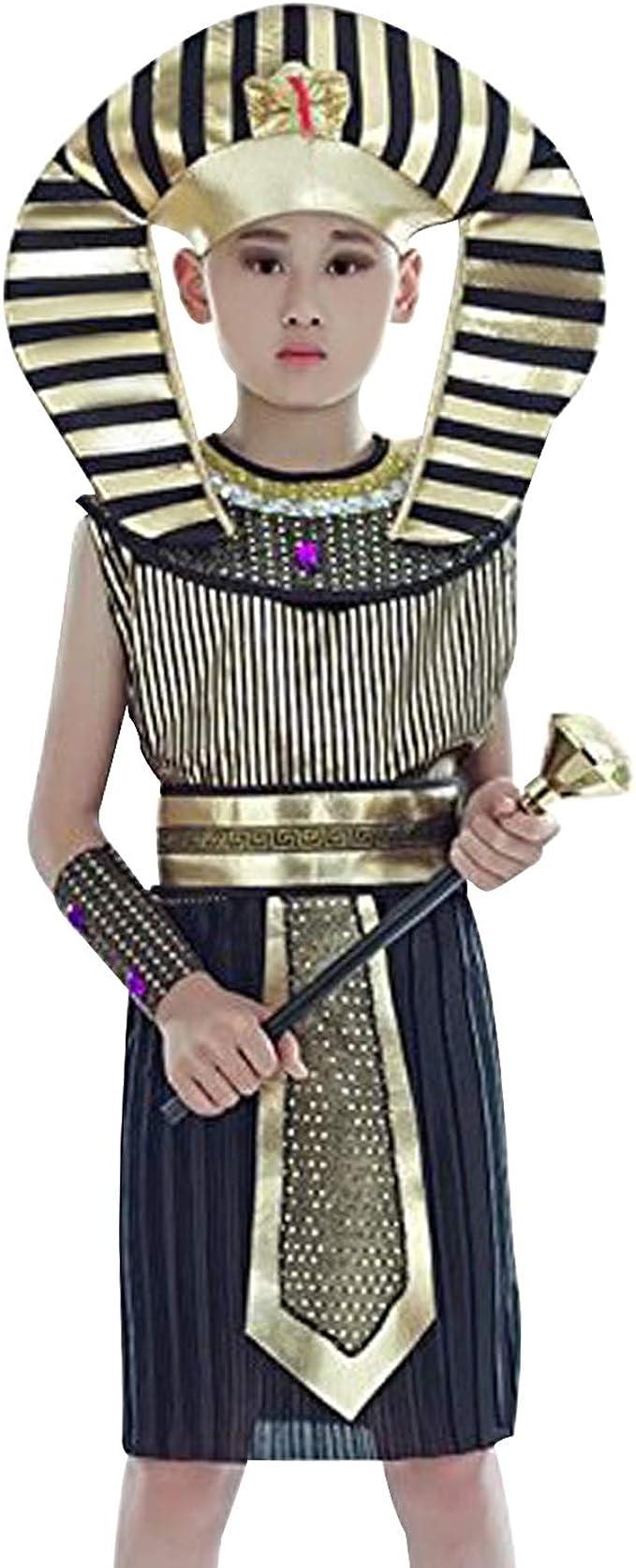 Acecharming - Juego de Disfraz de faraón para niños (8-10 años ...