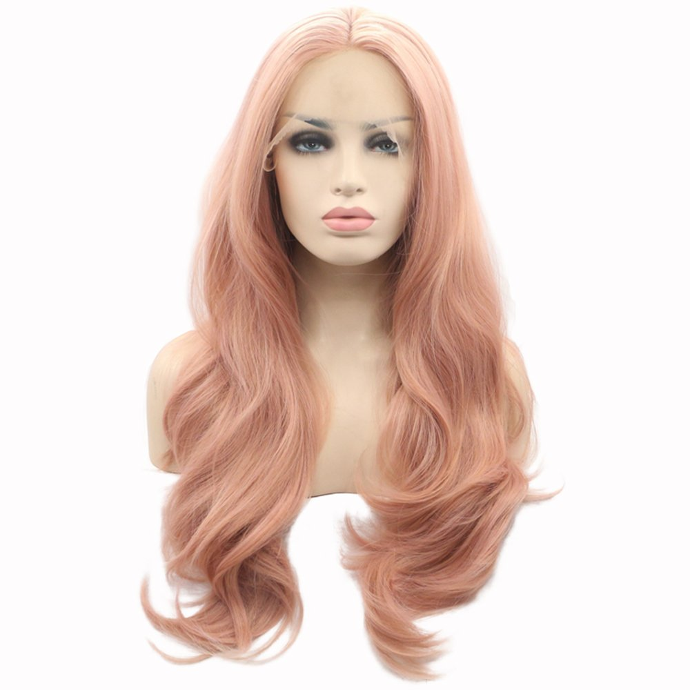 eNilecor Pink Lace Front Wigs,Long Curly Synthetic Color Lace Wig Hair Replacement Wigs for Women 22 Inches with Wig Cap (Pink)
