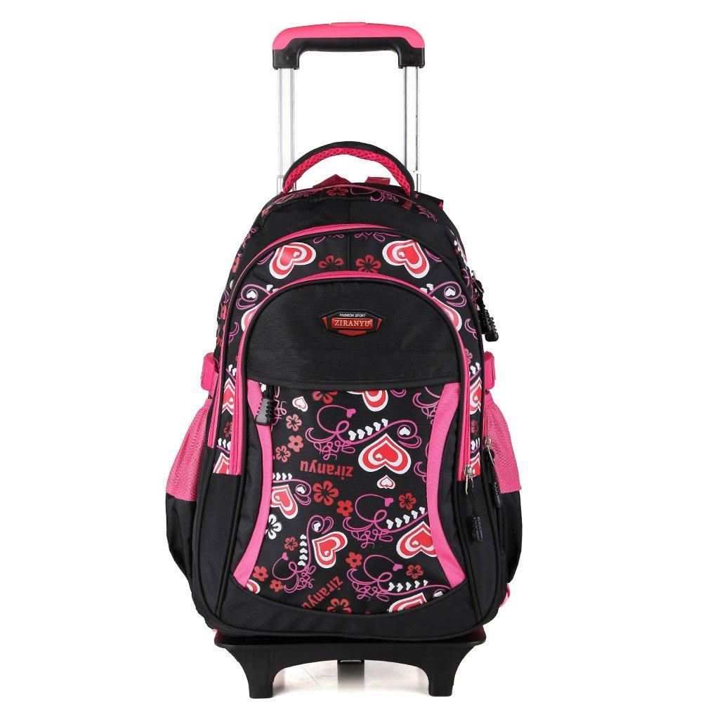 [Ziranyu]Ziranyu Cute Lovely Girls Waterproof Nylon School Backpack Schoolbags with Wheeled Trolley Hand JN-LGSB02 [並行輸入品]  Black B011BIEU78