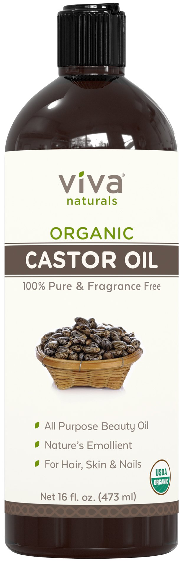Viva Naturals Certified Organic Castor Oil (16 oz) – 100% Pure and Hexane Free + BONUS Mascara Kit Included, Perfect for Hair Care, Eyelashes and Brows by Viva Naturals (Image #2)