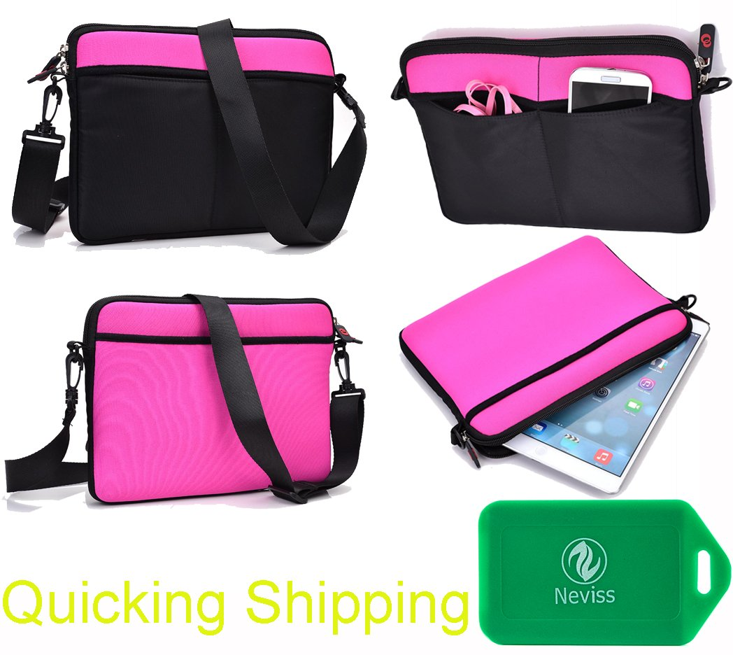 Shoulder bag with accessory pocket created of neoprene in Black/Hot Pink Universal fit for Dell Inspiron 11 3000 Series with Touch Screen