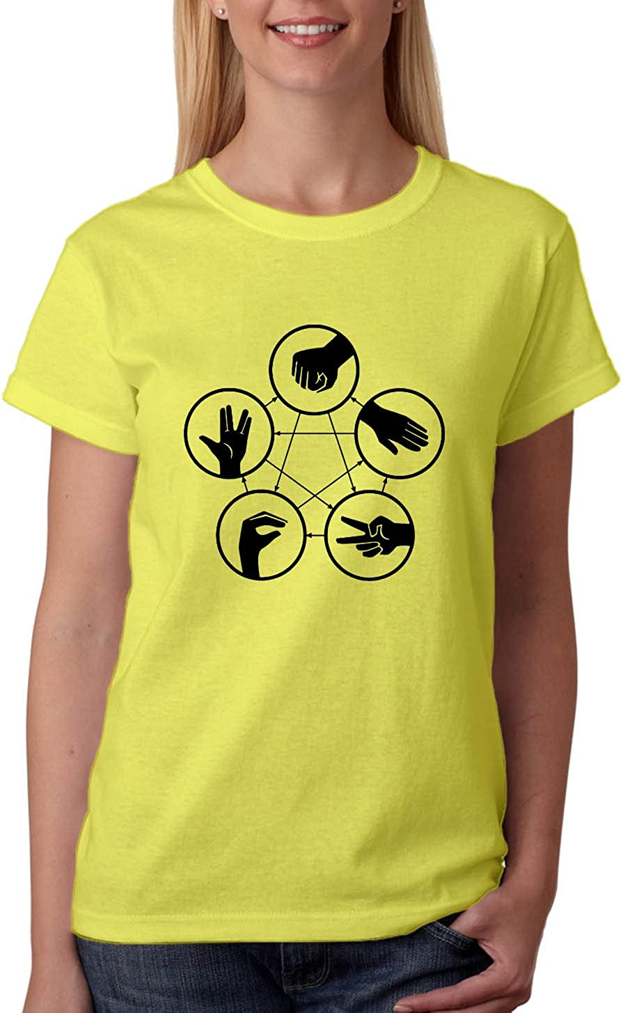 ROCK PAPER SCISSORS LIZARD SPOCK T-Shirt Womens theory Funny ladies sheldon