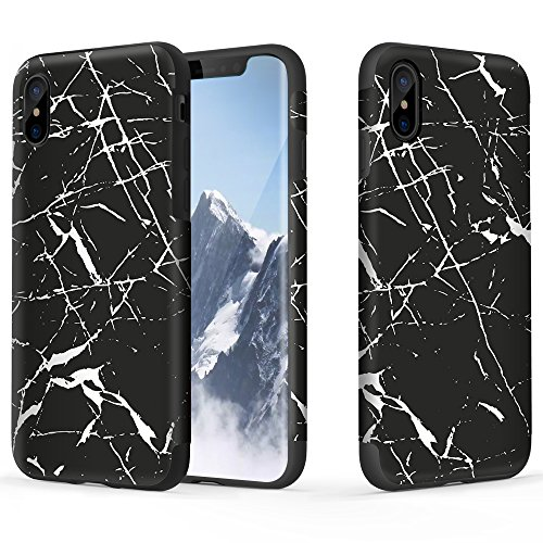 Flat Marbles Net - iPhone X Case, ROCK [Marble] Slim Ultra Thin Anti-scratch Drop Protection Soft TPU Two-Layer Protective Shell Case for Apple iPhone X - Black