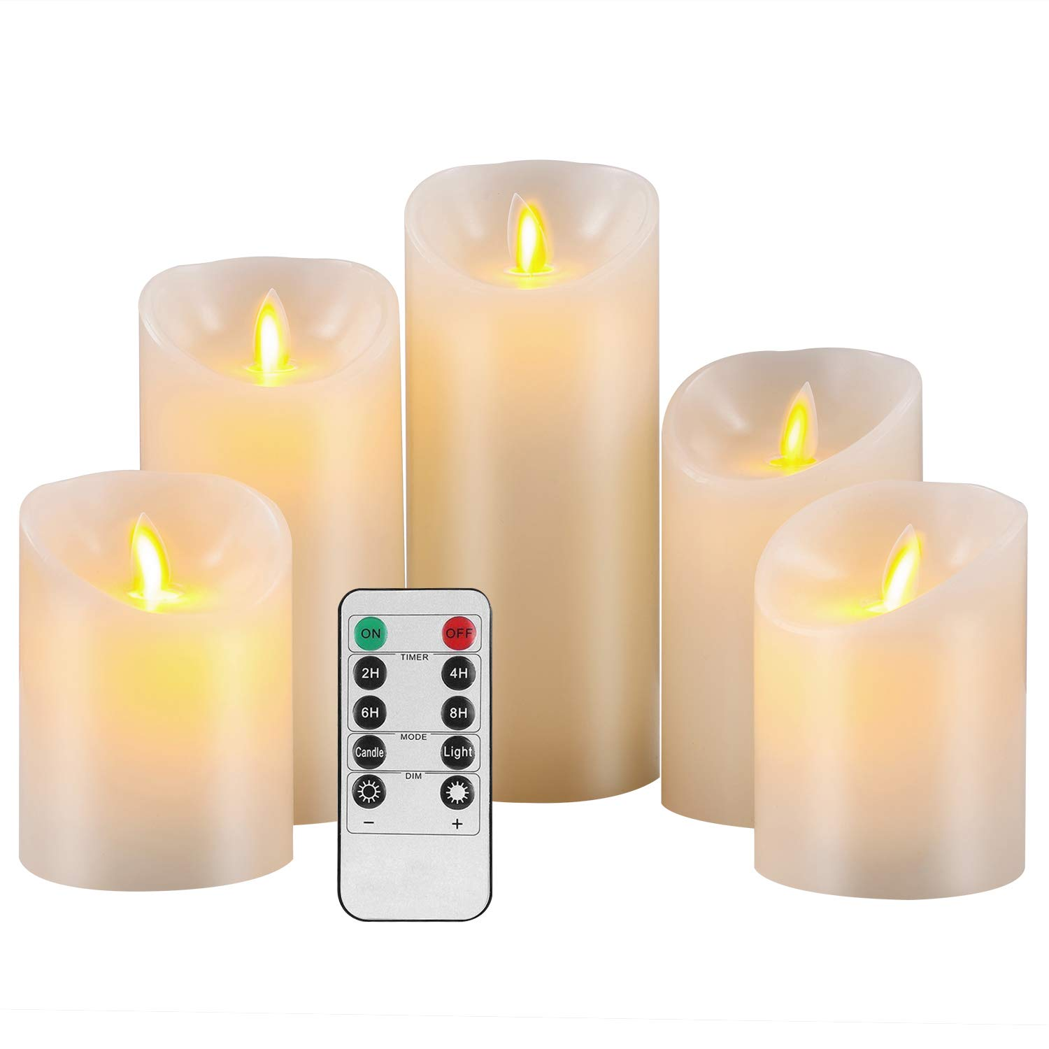 Pandaing Flameless Candles Set of 5 (D 3'' x H 4'' 4'' 5'' 6'' 7'') Battery Operated LED Pillar Real Wax Moving Flame Flickering Electric Candle Gift Set with Remote Control Cycling 24 Hours Timer by Pandaing