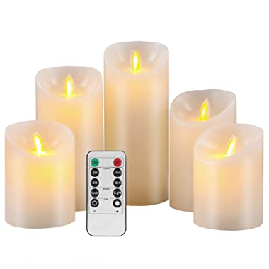Pandaing Flameless Candles Set of 5 (D 3  x H 4  4  5  6  7 ) Battery Operated LED Pillar Real Wax Moving Flame Flickering Electric Candle Gift Set with Remote Control Cycling 24 Hours Timer