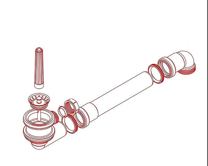 V/álvula de filtro MELI de 70 mm de di/ámetro con generador de espacio y conector grande de 1 pulgada para rebosadero de buena calidad fabricado en Alemania.