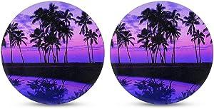 INSTANTARTS 2 Piece Hawaii Palm Tree Print Stylish Car Coaster Felt Car Cup Holder Coasters Drink Cup Mat Coaster for Car (Purple)