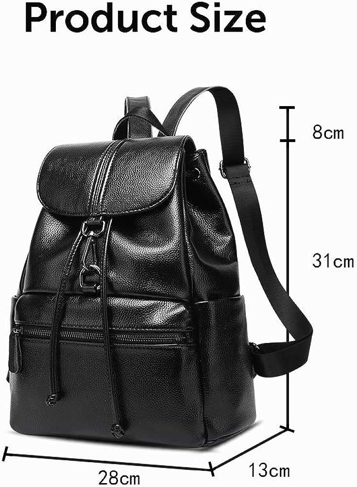Onzama Women Leather Backpack Purse Shoulder Daypack Anti-theft Rucksack Lightweight School Shoulder Bag
