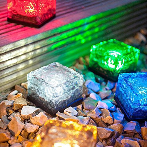 GESIME Outdoor Solar Lighting Waterproof Ice Cube Square Lights Brick paver Underground Buried Light for Patio Landscape Driveway Garden(Multicolor) (And Brick Gravel Patio)